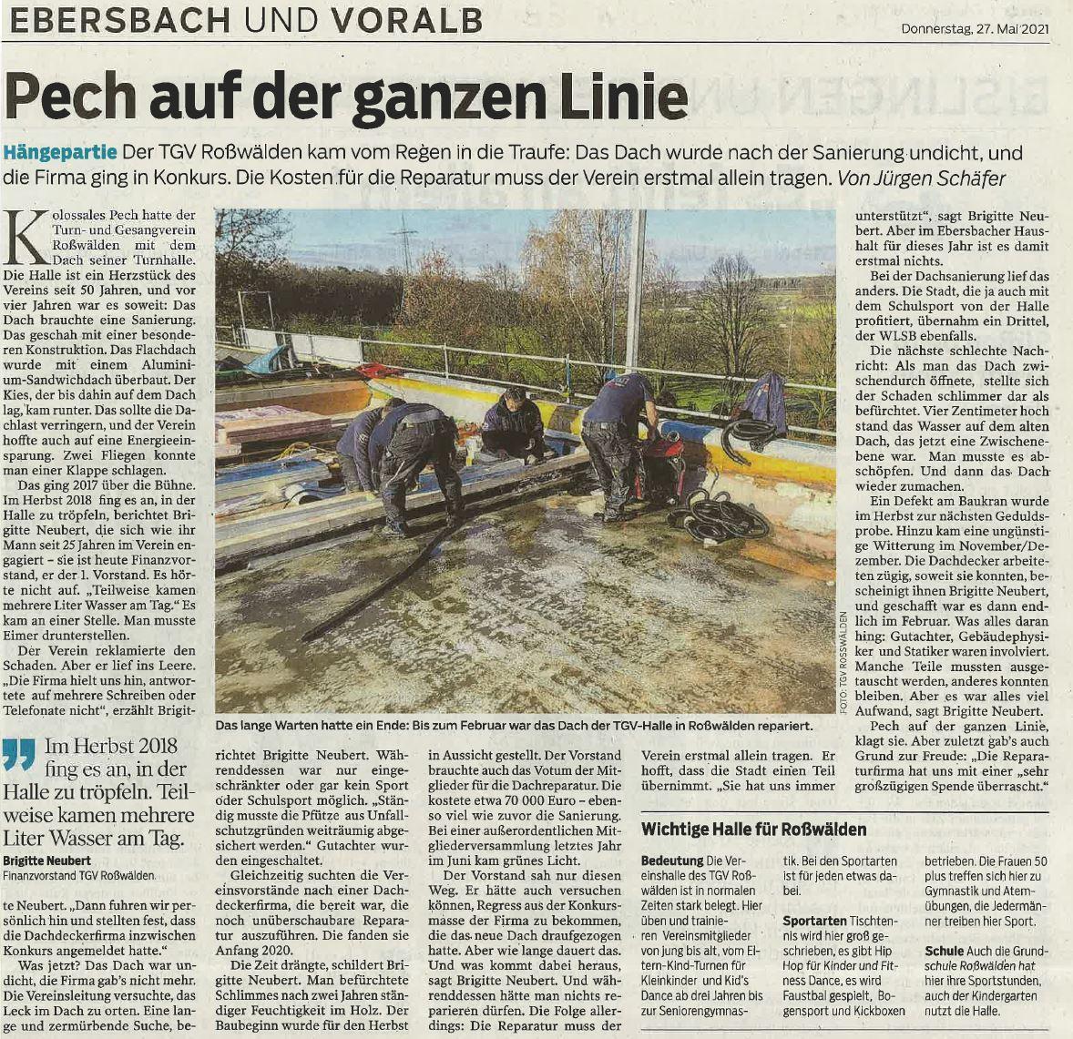NWZ 27-05-2021 Bericht TGV Roßwälden